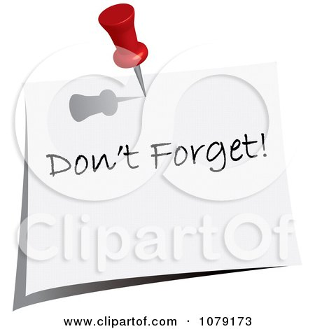 Clipart Red Push Pin Tacking A Dont Forget Note To A Wall - Royalty Free Vector Illustration by Pams Clipart