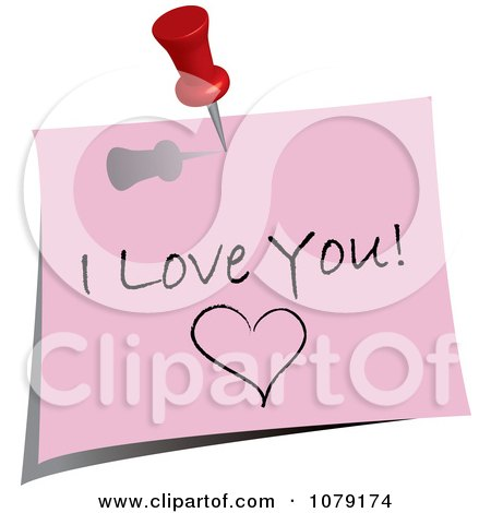Clipart Red Push Pin Tacking An I Love You Note To A Wall - Royalty Free Vector Illustration by Pams Clipart