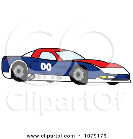 Clipart Red White And Blue Race Car - Royalty Free Vector Illustration by Pams Clipart
