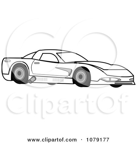 Clipart Ourlined Race Car - Royalty Free Vector Illustration by Pams Clipart