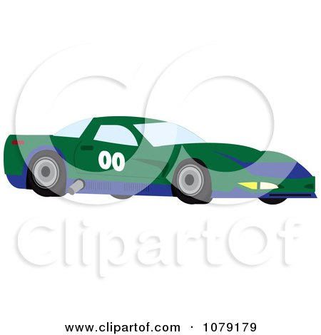 Clipart Green And Blue Race Car - Royalty Free Vector Illustration by Pams Clipart
