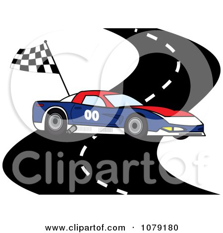 Clipart Red White And Blue Race Car On A Track With A Checkered Flag - Royalty Free Vector Illustration by Pams Clipart
