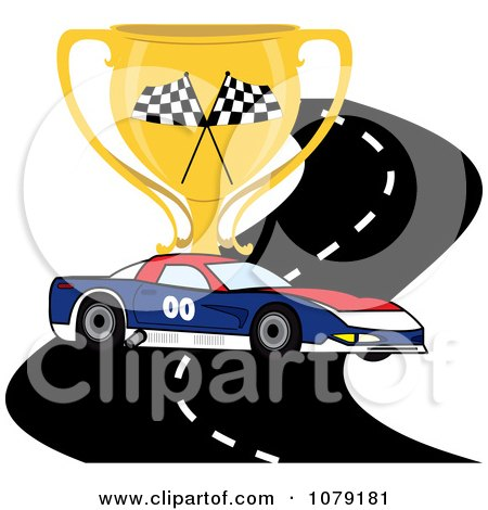 Clipart Red White And Blue Race Car On A Track With A Trophy Cup - Royalty Free Vector Illustration by Pams Clipart