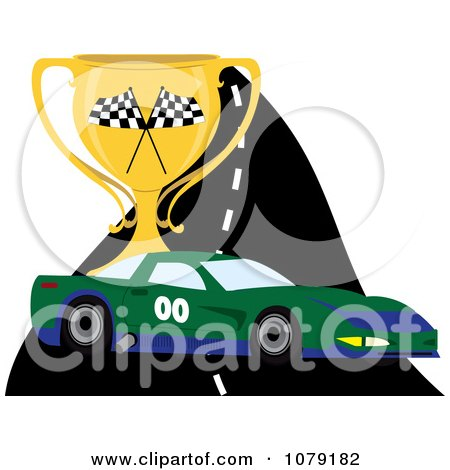 Clipart Green And Blue Race Car On A Track With A Trophy Cup - Royalty Free Vector Illustration by Pams Clipart
