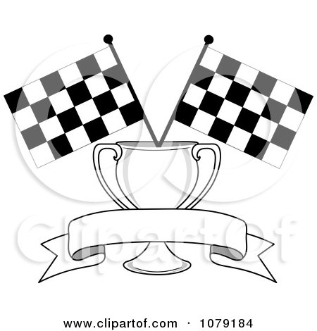 Clipart Blank Banner Trophy Cup And Two Checkered Race Flags - Royalty Free Vector Illustration by Pams Clipart