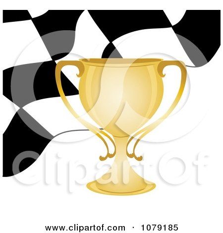 Clipart  Gold Trophy Cup And Checkered Race Flag - Royalty Free Vector Illustration by Pams Clipart