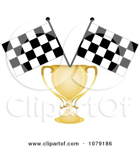 Clipart Gold Trophy Cup And Two Checkered Race Flags - Royalty Free Vector Illustration by Pams Clipart