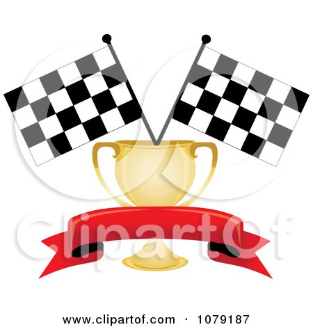 Clipart Red Banner Gold Trophy Cup And Two Checkered Race Flags - Royalty Free Vector Illustration by Pams Clipart