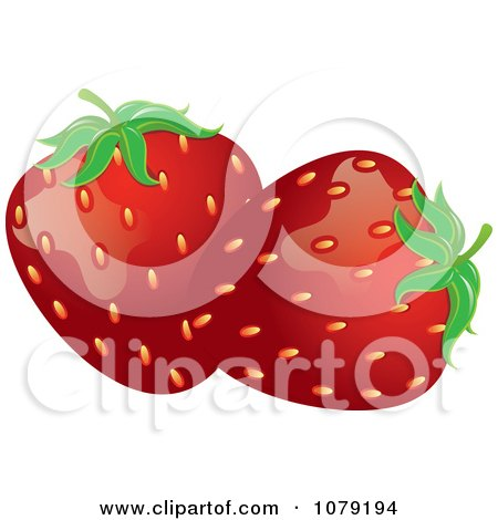 Clipart Ripe Red Strawberries - Royalty Free Vector Illustration by Pams Clipart