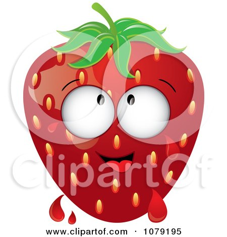 Clipart Dripping Ripe Strawberry Character - Royalty Free Vector Illustration by Pams Clipart