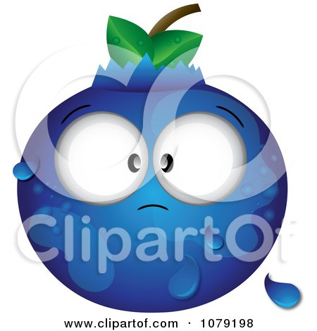 Clipart Cross Eyed Dewy Blueberry - Royalty Free Vector Illustration by Pams Clipart