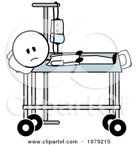 Clipart Sick Stick Man With An IV In A Hospital Bed   Royalty Free Vector  Illustration