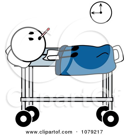 Clipart Sick Stick Man In A Hospital Bed Royalty Free