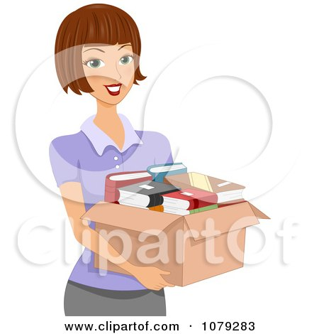Clipart Brunette Woman Carrying A Box Of Books - Royalty Free Vector Illustration by BNP Design Studio