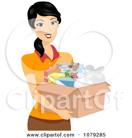 Clipart Brunette Woman Carrying A Box Of Food - Royalty Free Vector Illustration by BNP Design Studio