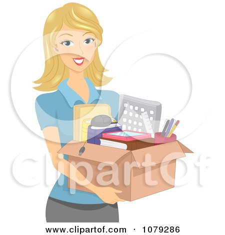 Clipart Blond Woman Carrying A Box Of Office Supplies - Royalty Free Vector Illustration by BNP Design Studio