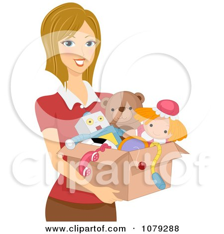 Clipart Brunette Woman Carrying A Box Of Toys - Royalty Free Vector Illustration by BNP Design Studio