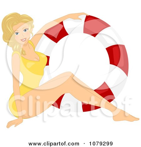 Blond Pinup Woman In A Swimsuit By A Life Buoy Posters, Art Prints