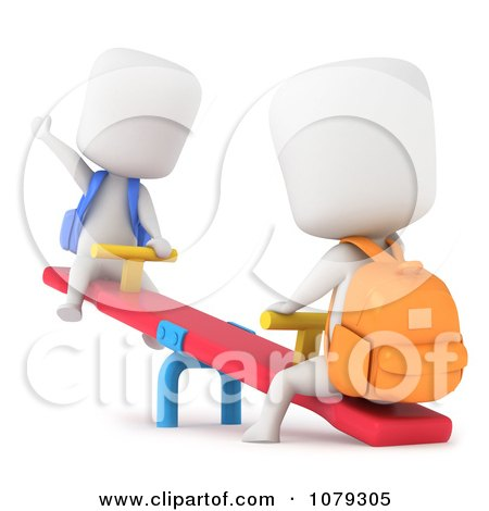 Clipart 3d Ivory School Kids Playing On A See Saw - Royalty Free CGI Illustration by BNP Design Studio