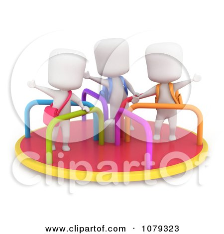 Clipart 3d Ivory School Kids Playing On A Merry Go Round - Royalty Free CGI Illustration by BNP Design Studio