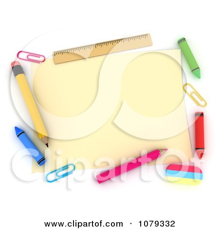 Clipart 3d Memo With School Supplies - Royalty Free CGI Illustration by BNP Design Studio