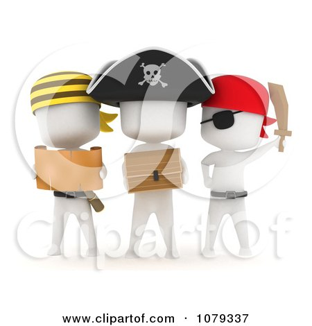 Clipart 3d Ivory Pirate Kids With A Treasure Chest And Map - Royalty Free CGI Illustration by BNP Design Studio