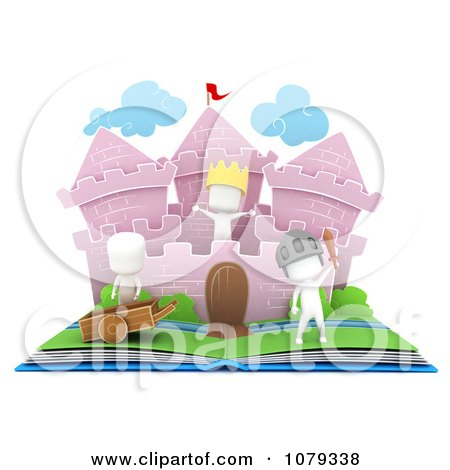 Clipart 3d Ivory Kids In A Pop Up Castle Story Book - Royalty Free CGI Illustration by BNP Design Studio
