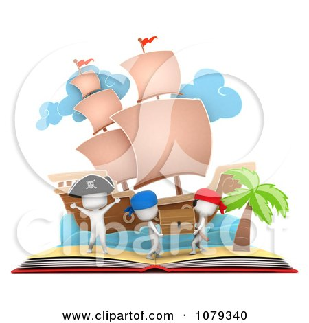Clipart 3d Ivory People In A Pop Up Pirate Treasure Story Book - Royalty Free CGI Illustration by BNP Design Studio