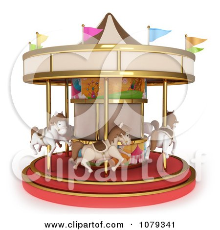 Clipart 3d Horse Carousel - Royalty Free CGI Illustration by BNP Design Studio