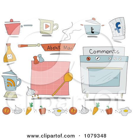 Clipart Set Of Cartoon Cooking Website Icons - Royalty Free Vector Illustration by BNP Design Studio