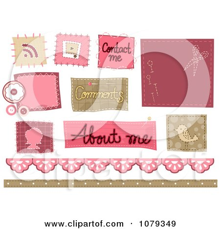 Clipart Set Of Stitched Sewing Website Icons - Royalty Free Vector Illustration by BNP Design Studio