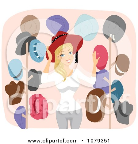 Clipart Blond Woman With Her Collection Of Hats - Royalty Free Vector Illustration by BNP Design Studio