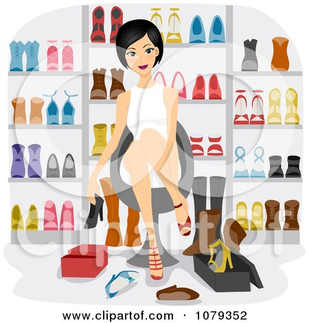 Woman Trying On Shoes In A Store Posters, Art Prints
