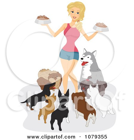 Clipart Dog Lady Surrounded By Her Pets At Feeding Time - Royalty Free Vector Illustration by BNP Design Studio