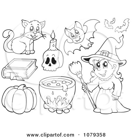 Clipart Outlined Witch And Halloween Items - Royalty Free Vector Illustration by visekart