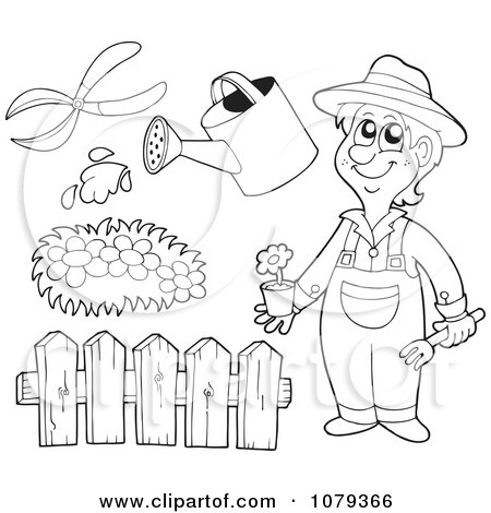 Clipart Outlined Gardener With Landscaping Tools - Royalty Free Vector Illustration by visekart