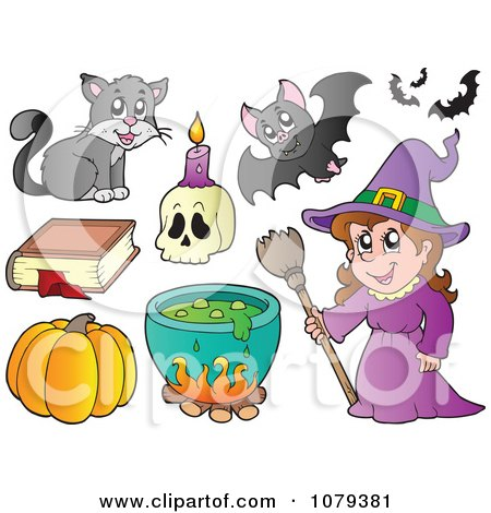 Clipart Witch With Halloween Items - Royalty Free Vector Illustration by visekart
