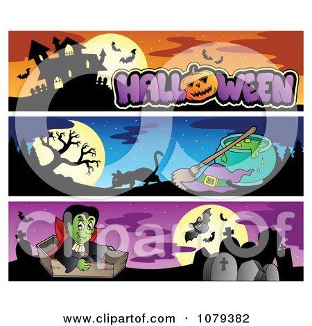 Clipart Halloween Haunted House Witch And Vampire Website Banners - Royalty Free Vector Illustration by visekart