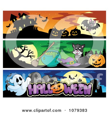 Clipart Haunted House Witch Cat And Ghost Halloween Website Banners - Royalty Free Vector Illustration by visekart