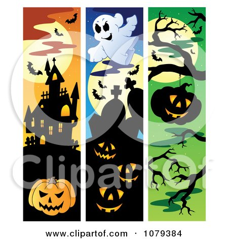 Clipart Jackolantern Haunted House Haunted Cemetery Halloween Website Banners - Royalty Free Vector Illustration by visekart