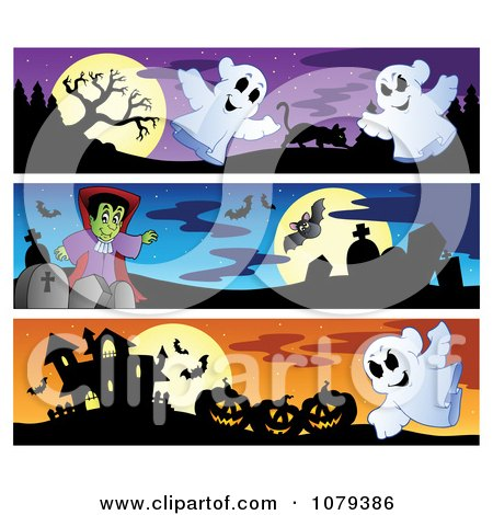Clipart Ghost Vampire And Haunted House Halloween Website Banners - Royalty Free Vector Illustration by visekart