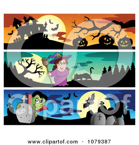 Clipart Haunted House Witch And Vampire Halloween Website Banners - Royalty Free Vector Illustration by visekart