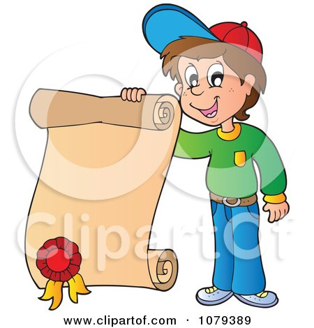 Clipart School Boy Holding A Certificate - Royalty Free Vector Illustration by visekart