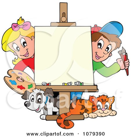 Clipart Art Class School Kids With A Blank Canvas ...