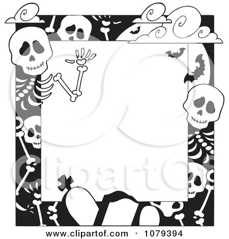 Clipart Black And White Cemetery And Skeleton Halloween Border - Royalty Free Vector Illustration by visekart