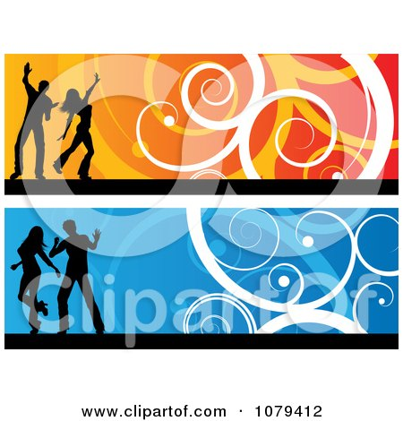 Clipart Orange And Blue Silhouetted Dancer Website Banners - Royalty Free Vector Illustration by KJ Pargeter