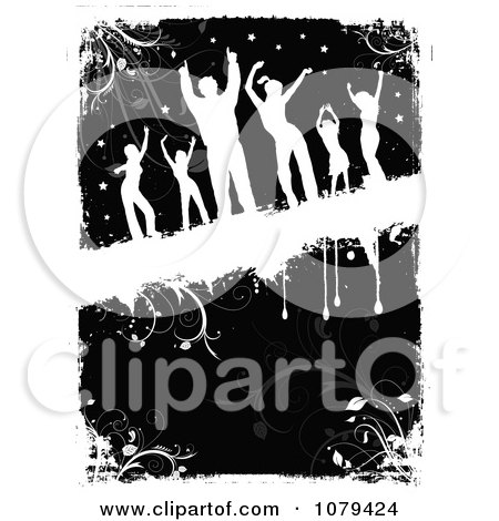 Silhouetted Dancers Over Black And White Floral Grunge Posters, Art Prints