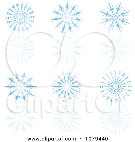 Clipart Set Of Blue Snowflakes And Reflections - Royalty Free Vector Illustration by KJ Pargeter