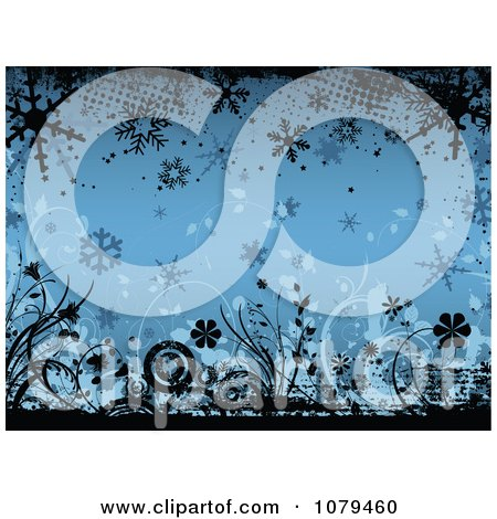 Clipart Blue Floral Winter Grunge Background With Flowers And Snowflakes - Royalty Free Vector Illustration by KJ Pargeter