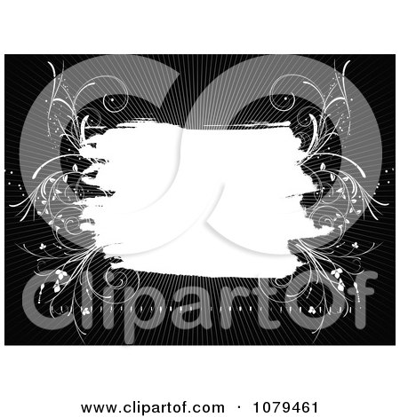 Clipart Black And White Floral Grunge Background 3 - Royalty Free Vector Illustration by KJ Pargeter